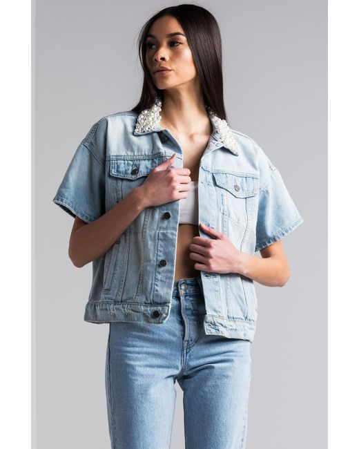 Akira L.a. Lady Pearl Collar Short Sleeve Denim Jacket in Blue | Lyst