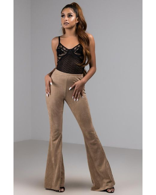 Akira - Brown Too Late To Say Sorry Faux Suede Wide Leg Pant - Lyst