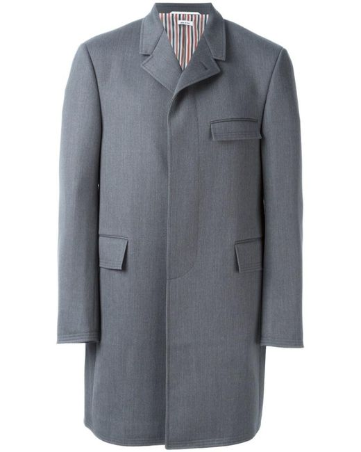 Thom Browne | Gray Single Breasted Coat for Men | Lyst