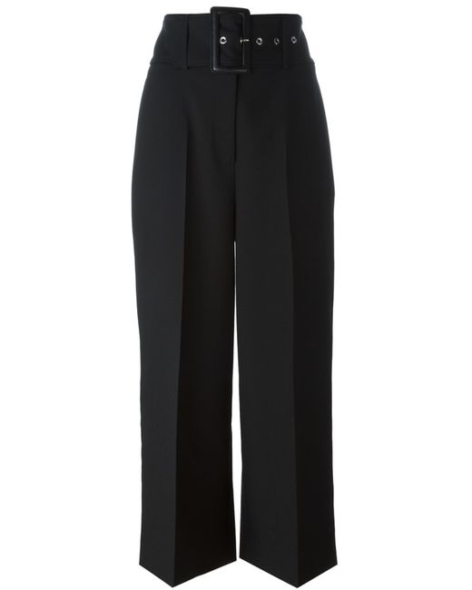 Givenchy | Black Cropped Straight-leg Pants In Red Grain De Poudre Wool | Lyst