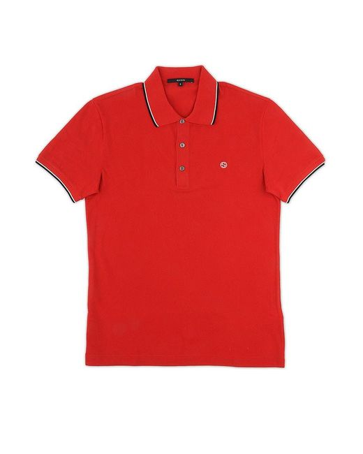 Gucci red polo shirt with contrast profiles in red for men for Gucci t shirts online india