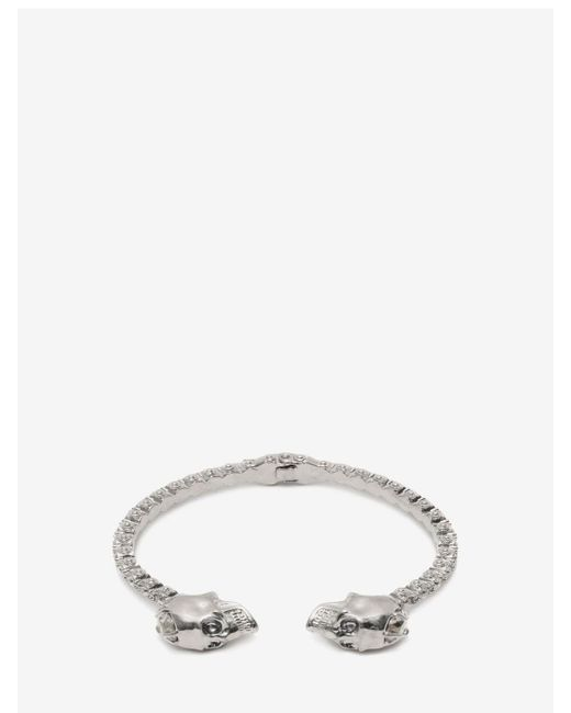 Alexander McQueen - Metallic Jewelled Twin Skull Bangle - Lyst