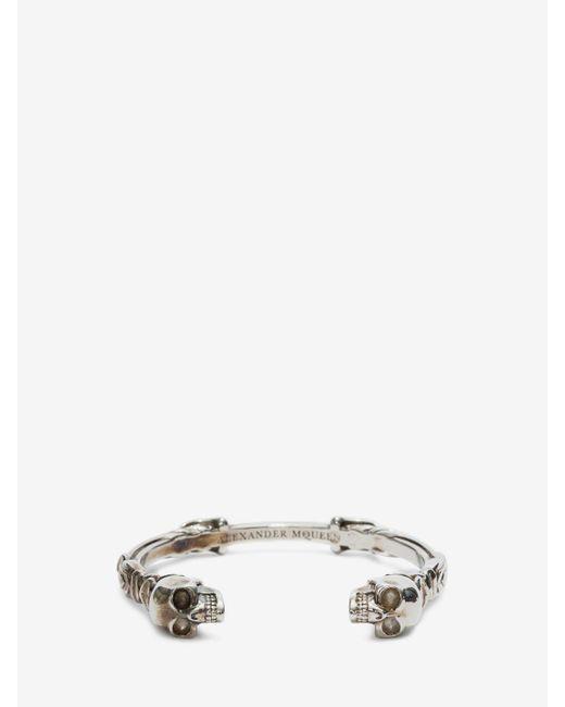 Alexander McQueen | Metallic Twin Textured Skull Bracelet | Lyst