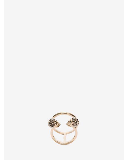 Alexander McQueen - Metallic Twin Skull Double Ring - Lyst