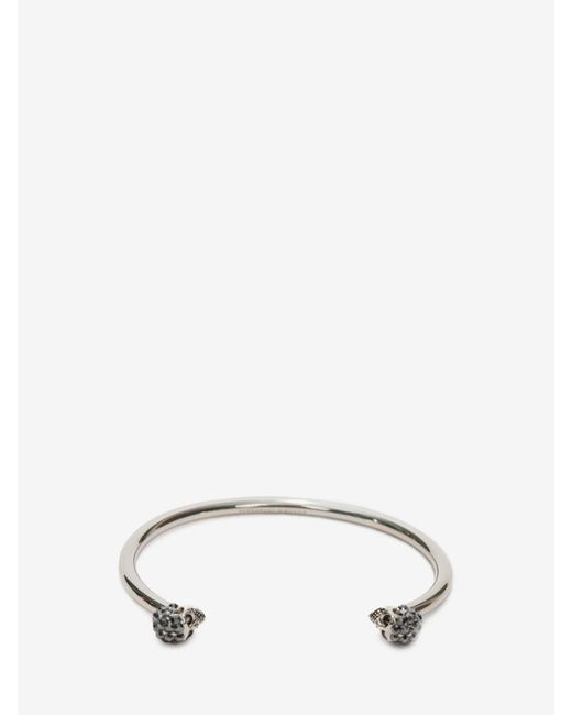 Alexander McQueen | Metallic Thin Jewelled Twin Skull Bracelet | Lyst