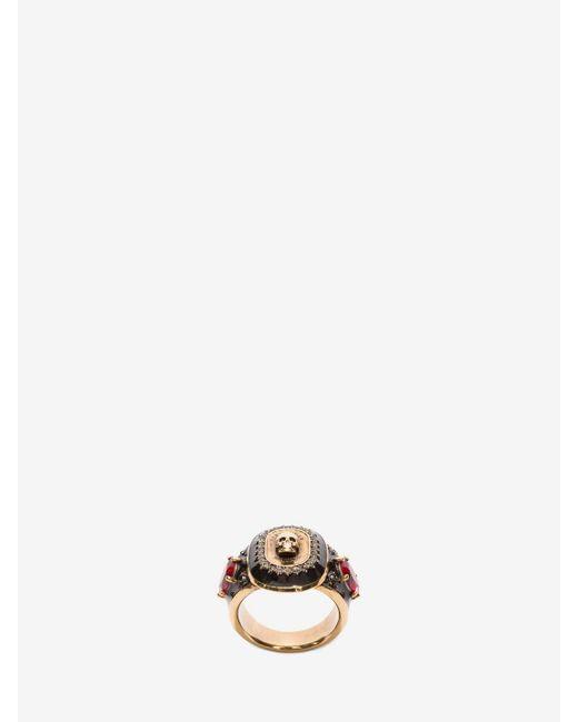 Alexander McQueen | Metallic Jewelled Medallion Ring | Lyst