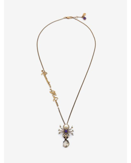 Alexander McQueen - Metallic Signature Spider Necklace - Lyst