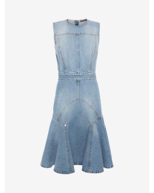 Alexander McQueen | Blue Faded Denim Dress | Lyst