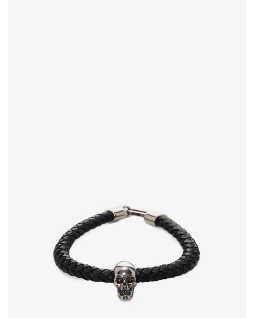 Alexander McQueen - Black Skull Leather Bracelet for Men - Lyst