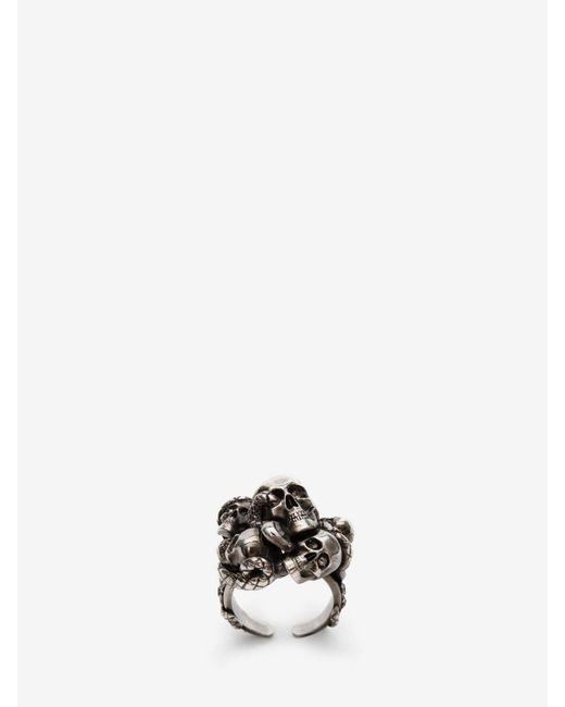 Alexander McQueen - Metallic Multi Skull & Snake Ring for Men - Lyst