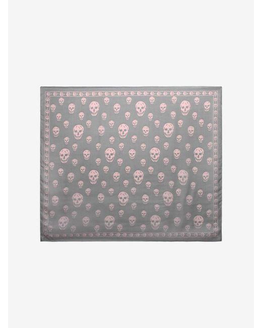 Alexander McQueen - Gray Classic Silk Chiffon Skull Scarf for Men - Lyst