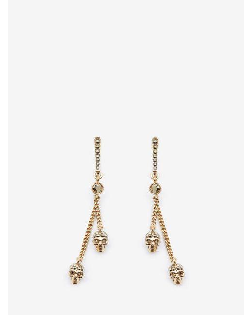 Alexander McQueen | Metallic Chain Skull Earrings | Lyst
