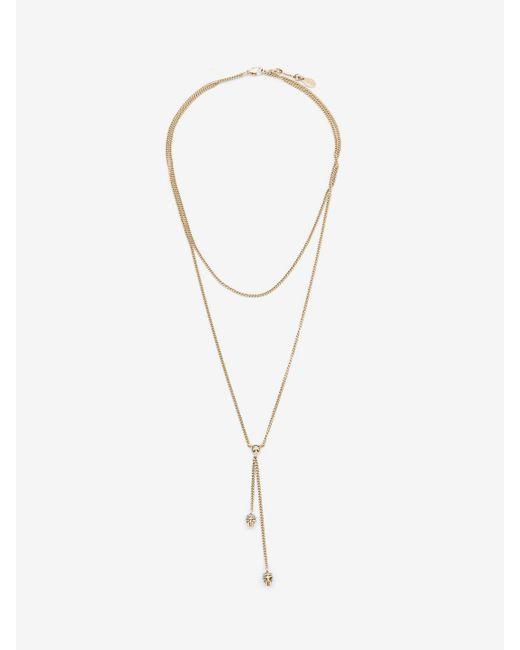 Alexander McQueen - Metallic Double-wrap Chain Skull Necklace - Lyst