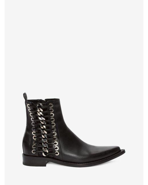 Alexander McQueen - Black Braided Chain Ankle Boot - Lyst