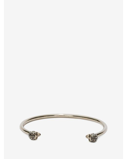 Alexander McQueen | Metallic Thin Jewelled Twin Skull Bracelet | Lyst