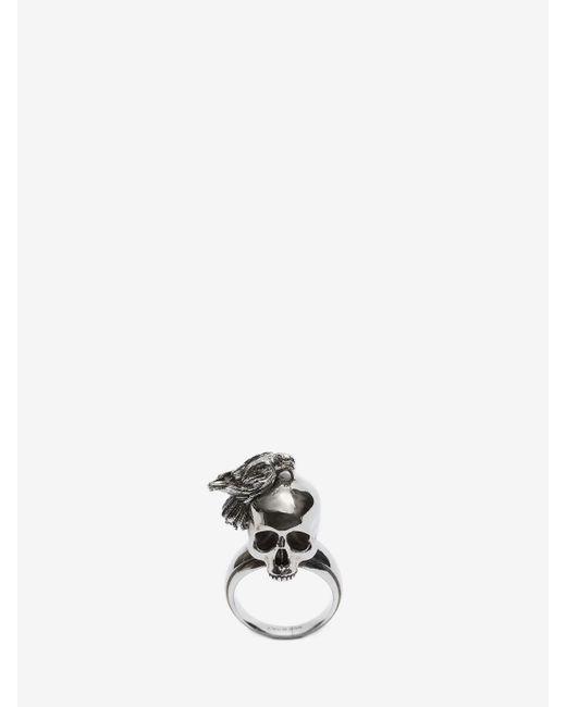 Alexander McQueen - Metallic Raven And Skull Ring - Lyst