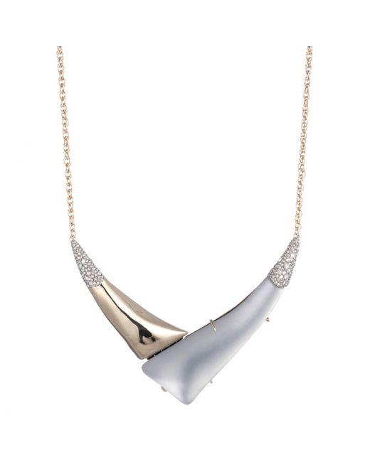 "Alexis Bittar - Gray Liquid Gold With Crystal Accent ""v"" Shaped Pendant Necklace You Might Also Like - Lyst"