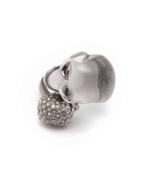 Alexis Bittar - Metallic Crystal Encrusted Double Skull Ring - Lyst