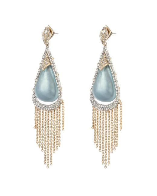 Alexis Bittar - Multicolor Crystal Capped Tassel Chain Post Earring - Lyst