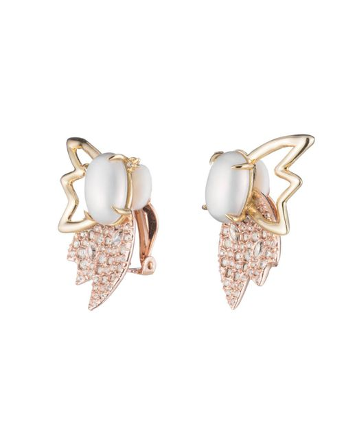 Alexis Bittar - Multicolor Crystal Encrusted Petal Pearl Clip Earring - Lyst