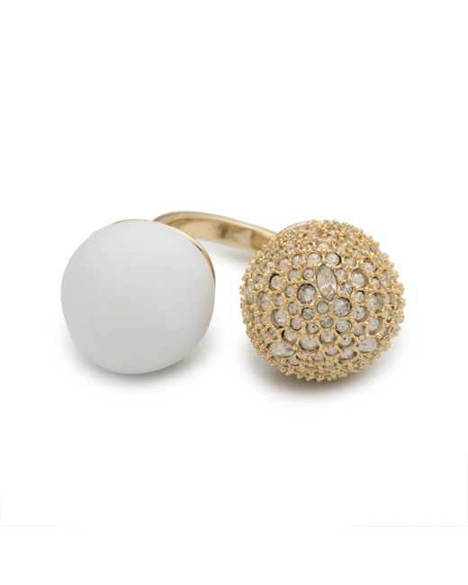 Alexis Bittar - Crystal Encrusted With Matte White Accent Adjustable Sphere Cocktail Ring You Might Also Like - Lyst