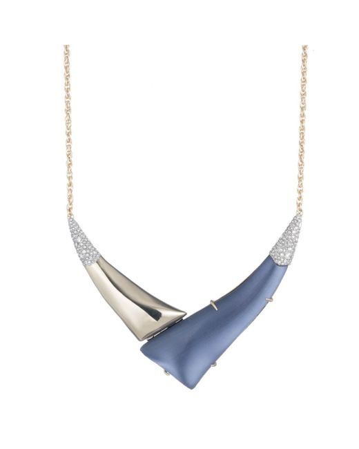 """Alexis Bittar - Metallic Liquid Gold With Crystal Accent """"v"""" Shaped Pendant Necklace You Might Also Like - Lyst"""