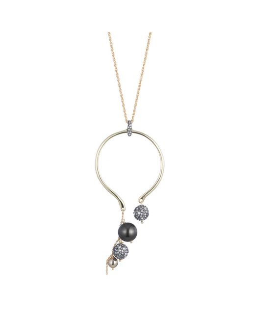 Alexis Bittar | Metallic Crystal Encrusted Asymmetrical Pearl Cluster Long Pendant Necklace You Might Also Like | Lyst