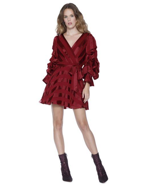 Alice + Olivia - Red Santina Tuck Sleeve Shirt Dress - Lyst