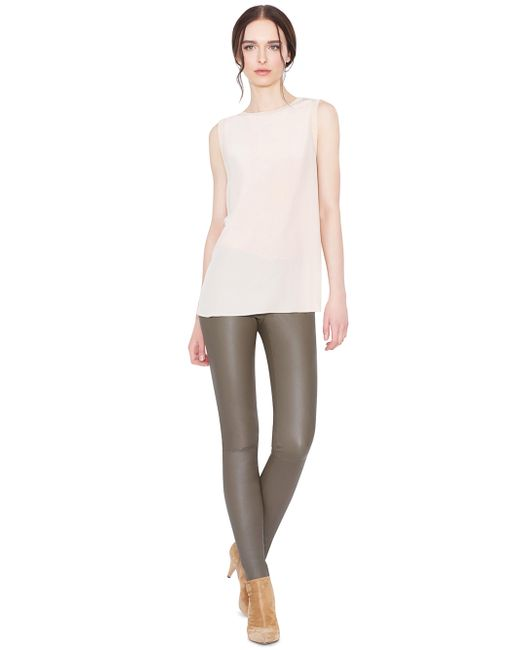 Alice + Olivia | Gray Front Zip Leather Legging | Lyst