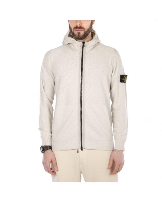Stone Island - White Knitwear Hooded Jacket for Men - Lyst