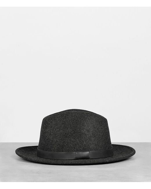 AllSaints - Gray Bronson Leather Fedora Hat for Men - Lyst