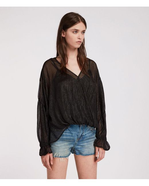 AllSaints - Black Hattie Stripe Top - Lyst