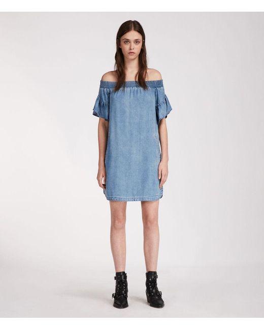 AllSaints - Blue Adela Chambray Dress - Lyst