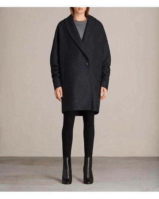 AllSaints - Gray Kenzie Ruche Coat - Lyst