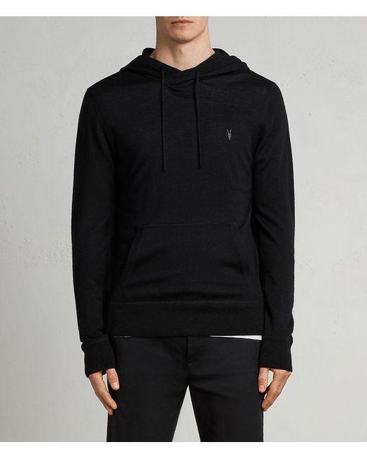 AllSaints - Black Mode Merino Pullover Hoodie for Men - Lyst