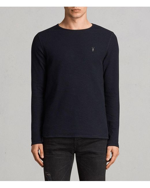 AllSaints - Blue Clash Long Sleeved Crew T-shirt for Men - Lyst