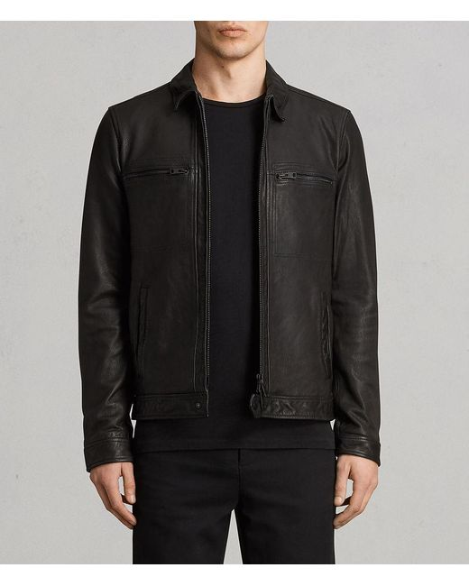 AllSaints - Black Lark Leather Jacket for Men - Lyst