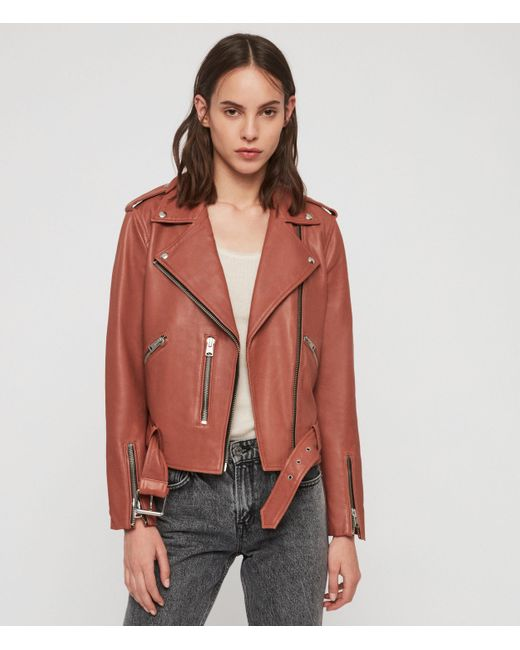 AllSaints Pink Balfern Leather Biker Jacket