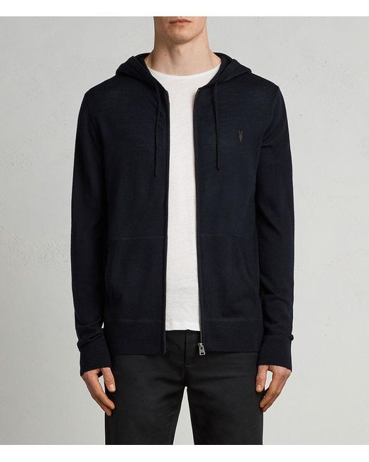 AllSaints | Blue Mode Merino Zip Hoody for Men | Lyst