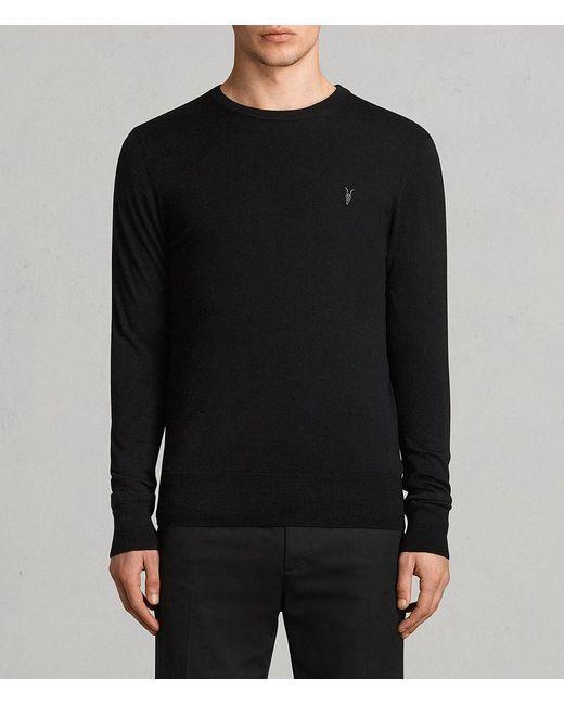AllSaints - Black Mode Merino Crew Sweater for Men - Lyst