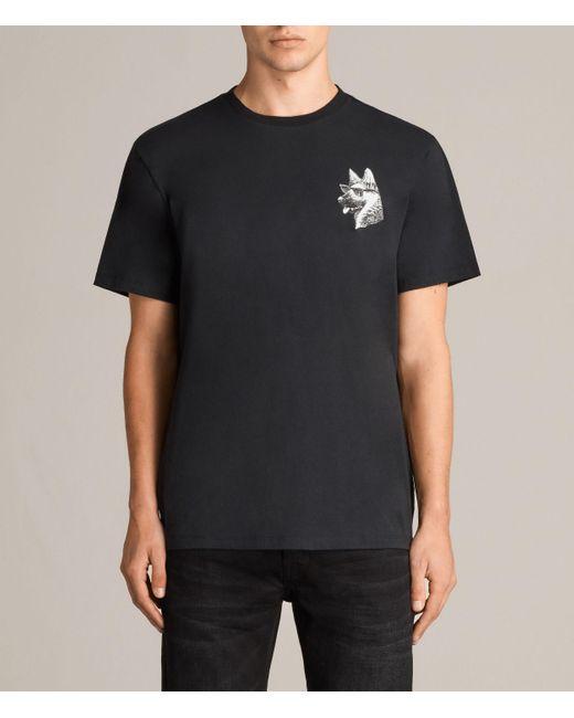AllSaints | Black Alsace Switch Crew T-shirt for Men | Lyst