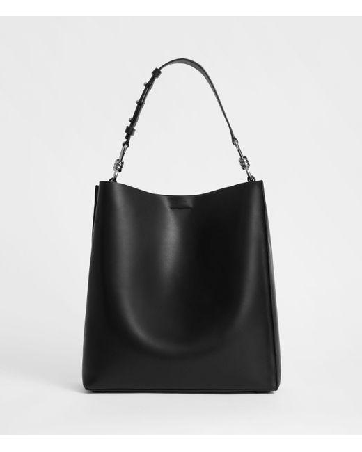 AllSaints Black Captain Leather North South Tote Bag