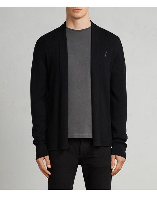 AllSaints - Black Mode Merino Open Cardigan for Men - Lyst