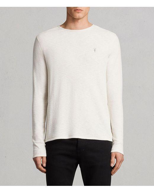AllSaints - White Clash Long Sleeve Crew T-shirt for Men - Lyst