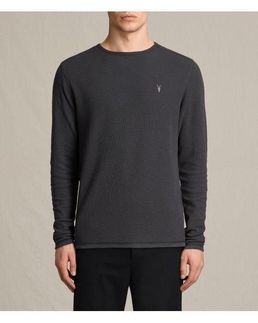 AllSaints | Black Clash Long Sleeve Crew T-shirt for Men | Lyst