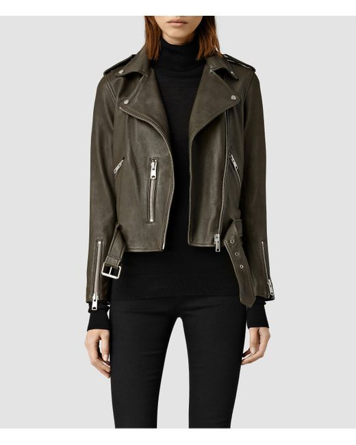 AllSaints | Green Balfern Leather Biker Jacket | Lyst