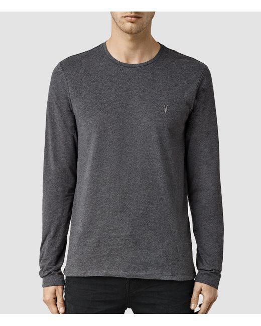 AllSaints | Gray Brace Long Sleeve Tonic Crew T-shirt for Men | Lyst