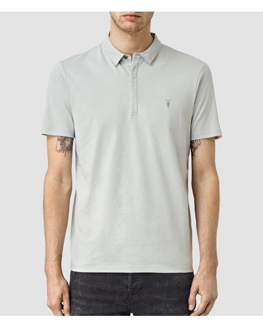 Allsaints Brace Polo Shirt In Blue For Men Mirage Blue