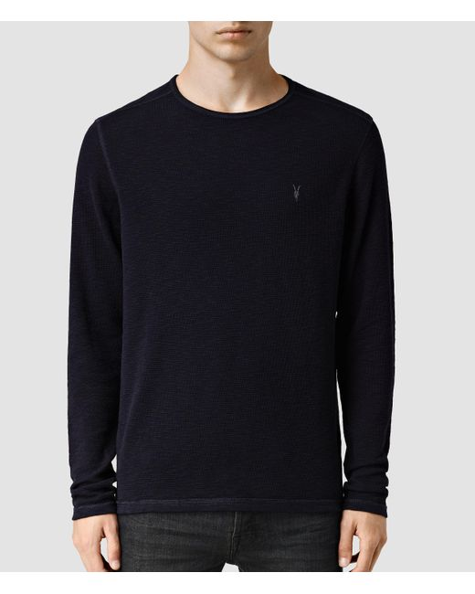 AllSaints | Blue Clash Long Sleeved Crew T-shirt for Men | Lyst