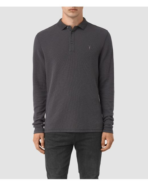 AllSaints | Black Clash Long Sleeve Polo Shirt for Men | Lyst